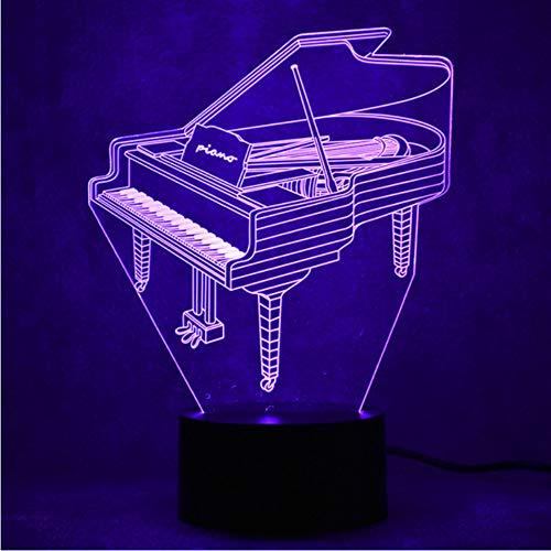 3D LED Für Kinder Touch Button USB Visuelle Klavier Schreibtischlampe Baby Schlaf Beleuchtung Wohnkultur Geschenke Musikinstrumente Nachtlichter (Elsa-klavier Anna Und)