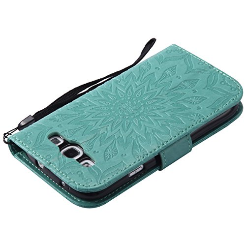 Felfy Coque Etui pour Samsung Galaxy S3,Galaxy S3 Neo Coque Dragonne Portefeuille PU Cuir Etui,Galaxy S3o Etui Cuir Folio Housse Rouge Tournesol 3D en Relief Motif Leather Case Wallet Flip Protective  Tournesol Vert