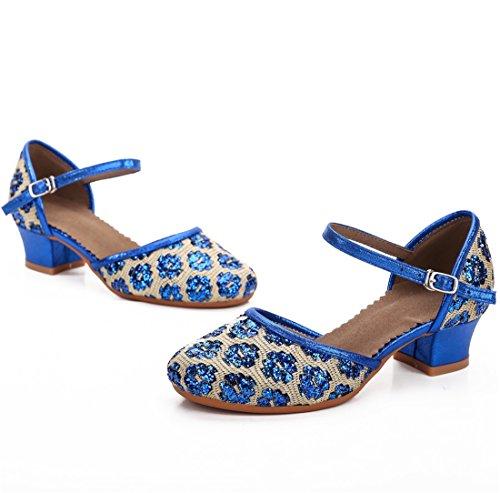 Cool&D Mädchen Tanzschuhe Prinzessin Schuhe Kinder Latein Schuhe mit Weiche Sohlen 28-38 Blau