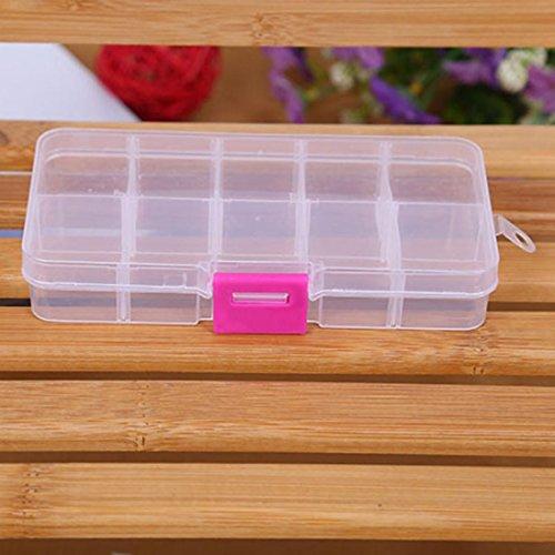 Winkey Boîte de rangement, 10 Grilles réglable bijoux perles Pills Nail Art Conseils Boîte de rangement de Coque, blanc