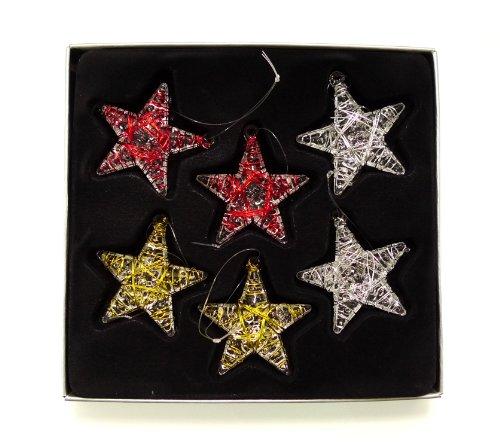 Klare Glassterne in farbigem Draht gewickelt (6er Pack)je 2x gold - silber - rot)