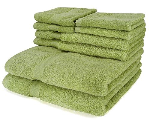 Luxus 6 Stück Handtuch Set grün - 2 Badetücher, 2 Handtücher, 2 Waschlappen, plus 2 Bonus Waschlappen - 100% organische natürliche ägyptische Baumwolle 650 GSM - Super weich und hoch absorbierend von (Plus Handtücher Handtuch Baumwolle)