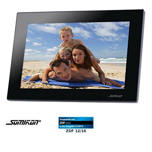 """Somikon WLAN Fotorahmen: Digitaler WLAN-Bilderrahmen mit 25,7-cm-IPS-Touchscreen (10,1\"""") (Digitaler Bilderrahmen mit Uhr)"""