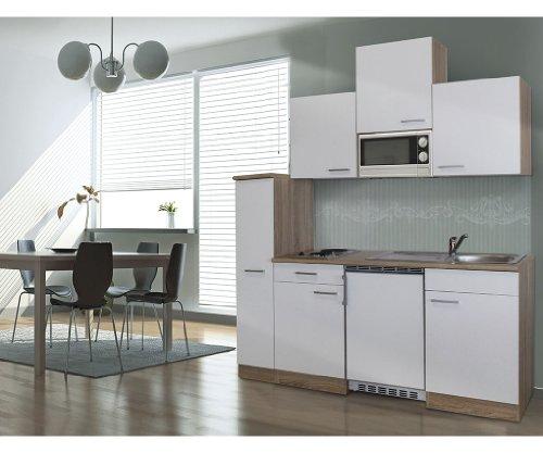 respekta Single Küche Küchenzeile Küchenblock 180 cm Eiche sägerau weiss APL Eiche sägerau Nachbildung Mikrowelle Ceran KB180ESWMIC -