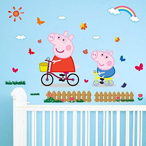JUNMAONO Peppa Pig Wandaufkleber/Schwein Pecs Wandgemälde/Wand Poster/Wandbild...