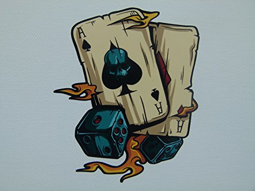 MG018 / Aufkleber Ass Karten 11x9cm Flammen Poker Spieler Rockabilly Old School Rockabella Tattoo Ink Vintage Retro