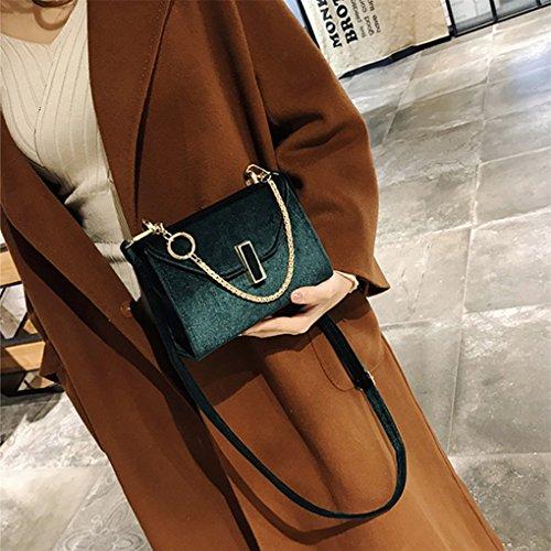 Lässige Mode Dame große Handtasche Messenger Tasche Geldbörse JYJMDamenmode einfarbig Samt Schulter Umhängetasche Grün