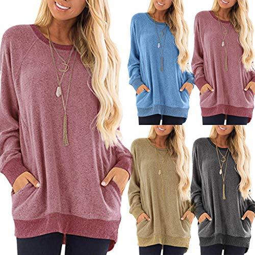 VJGOAL Tops Damen Große Größen Sweatshirt Herbst Winter Einfarbig Beiläufig Taschen Lange Ärmel Blouse Shirts
