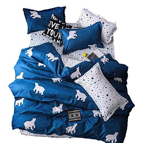BeddingWish Cartton Betten-Sets für Kinder Twin Queen Full King Bettbezug mit Verstecktem Reißverschluss Ultra Weiche Cozy Hypoallergener Mikrofaser Twin 9 (Queen Bett Set Mit Bettbezug)