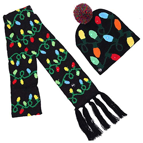 (iSpchen Weihnachten Hut Schal Erwachsene Kinder Farbe Ball Weihnachten Party Hut Halloween LED Licht Knit Geschenke Caps Schals Licht Post)