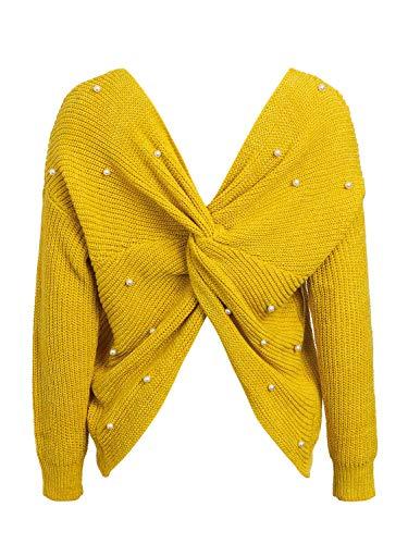 MsLure Damen Pullover Elegant Kreuz V-Ausschnitt Rückenfrei Perlen Gestrickte Sweater Gelb