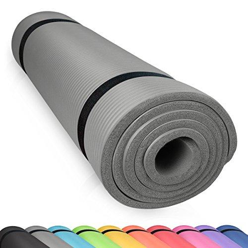 diMio Yogamatte Gymnastikmatte rutschfest mit Tragegurt, phlatatfrei + SGS-geprüft, 185x60x1.0cm Grau