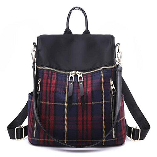 Preisvergleich Produktbild Rucksäcke Lattice Backpack Large-Kapazität beiläufige Handtasche Dual Travel Backpack (Größe: 27 * 15 * 34cm) (Farbe : Red)