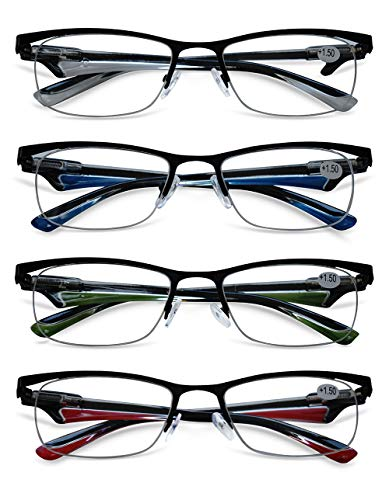 KOOSUFA Lesebrille Herren Damen Metallrahmen Halbrahmen Brille Klassische Halbrandbrille Lesehilfe Sehhilfe Federscharnier Blau Grün Rot Weiß 1.0 1.5 2.0 2.5 3.0 3.5 4.0 (4 Farben Set, 2.5)