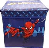 Pouf Disney Contenitore con Cuscino 30 x 30 cm disponibile con Diversi Personaggi (Spiderman - Uomo Ragno)