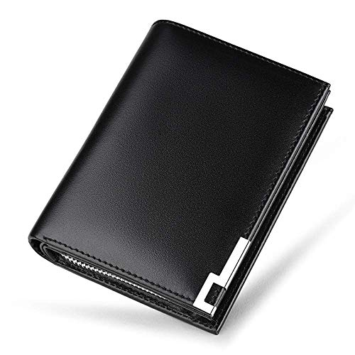 Yter Mens-Kartenmappenhalter Herren Kreditkarteninhaber Multi-Card Short Zipper Wallet - Leder Multifunktionales Modedesign Brieftasche für Männer (Farbe : Black)