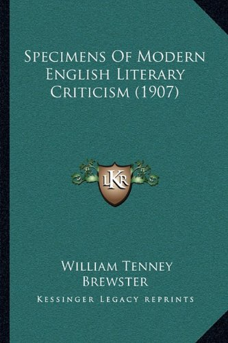 Specimens of Modern English Literary Criticism (1907)
