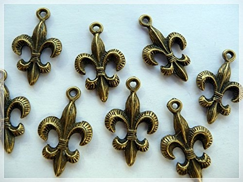 8 Anhänger Fleur de Lis in Vintage Bronze von Vintageparts, DIY-Schmuck