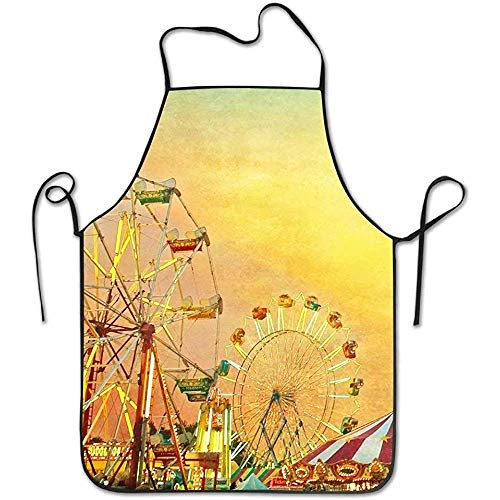 Aprons Ferris Wheel Green Sky Landscape Funny Cooking Apron for Men Women - BBQ Grill Kitchen Chef Barbecue Gifts, One Size Fits Most