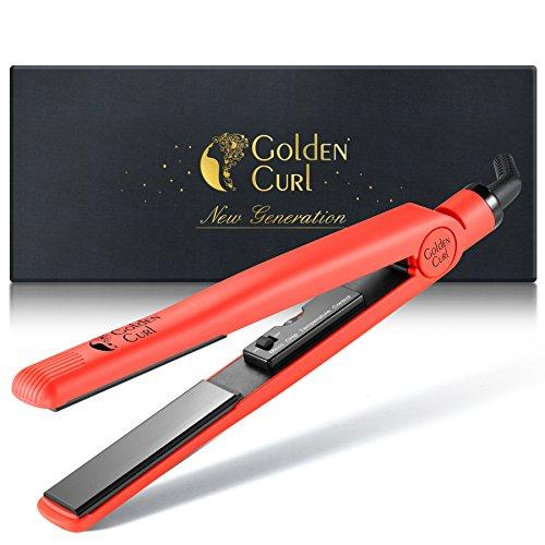Golden Curl Plancha de Pelo Profesional GL829 para Todos los Tipos de Cabello - Garantía Increíble de 5 Años (Rojo)