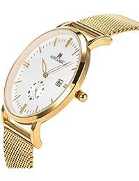 5a4cb8a564e579 SIBOSUN Men Wrist Watch Thin Gold Mesh Stainless Steel Japanese Quartz  Waterproof Date Small Second