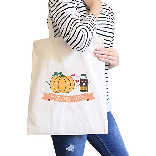 365 Printing inc, Borsa tote donna Happy Hallowine Ghost Wine - Black Misura unica Pumpkin Spice Relationship Goals-Natural