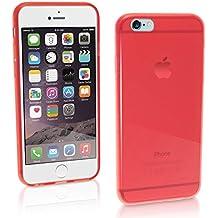 "igadgitz Transparente Rojo Lustroso Funda Carcasa Gel TPU para Apple iPhone 6 & 6S 4.7"" Case Cover + Protector Pantalla"