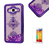 For Samsung Galaxy J5(2016 Model) Case J510 Cover, Funyye New Creative Floating Water Liquid Small Love Hearts Design Luxury Sparkly Lovely (Purple) Electroplate Plating Frame Crystal Design for Samsung Galaxy J5(2016 Model)- Flower