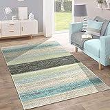 Paco Home Designer Teppich Modern Wohnzimmer Farbverlauf Streifen Muster Pastell Grün Blau Creme, Grösse:70x140 cm