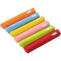 cosanter 6pcs lápiz bolsa caso diseño de lunares color sólido diseño maquillaje gafas bolsa para estudiantes niñas (Color aleatorio)