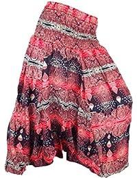 Sarouel Femme Pantalon Ethnique Aladin Harem boho Pant Aladdin rouge noir  red black yoga imprimé baggy f9af41774fe