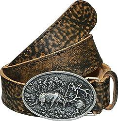 La Chasse | Ledergürtel aus Rindsleder mit Schnalle kämpfende Hirsche | Gürtel für Damen und Herren | Trachtengürtel für Lederhosen | Rindledergürtel | Büffelledergürtel | Lederkoppel (95 cm)