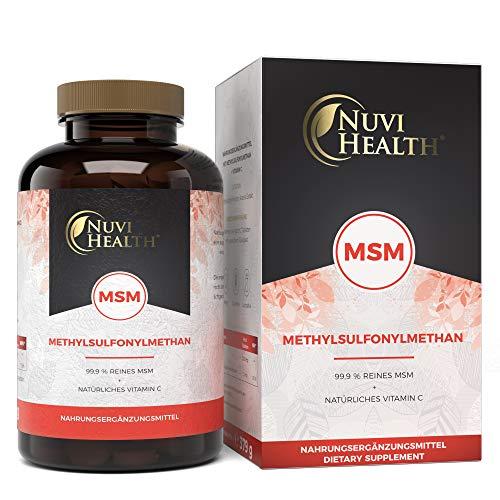 Nuvi Health® MSM - 365 Tabletten mit 2000 mg pro Tagesdosis - Einführungspreis - Premium Methylsufonylmethan: Mit natürlichem Vitamin C aus Acerola - Ohne Zusatzstoffe - Vegan - Hochdosiert