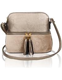 f25b653250d Women s Tassel Zip Details Messenger Cross-Body Handbag Faux Leather   Faux  Suede Shoulder