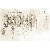 POSTERLOUNGE Póster 60 x 40 cm: Mechanical Design de Leonardo da Vinci/akg-Images - Impresión Artística de Alta Calidad, Nuevo Póster Artístico