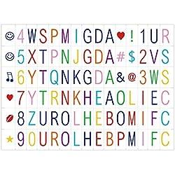 90 letras en color para la caja de luz cinematográfica - del tamaño A4