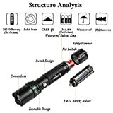 Rechargeable LED Flashlight Torch - Super Bright Cree Torches Light Zoomable Waterproof Flashlight with Safety Hammer - 350 Lumens Portable for Camping Hunting Hiking Fishing