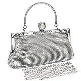 BAIGIO Damen Abendtasche Handtasche Strass Perle Clutch mit Schulterkette Schultertasche Glitzer...
