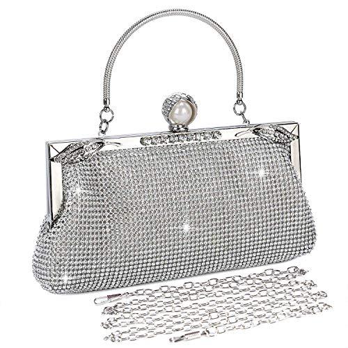 Baigio pochette donna elegante da cerimonia argento strass clutch borsetta da sera borsa con catena per matrimonio festa sposa