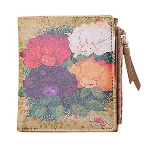 H : Kolylong Women Vintage Animals Coin Clip Purse Short Wallet Clutch Handbag (H)
