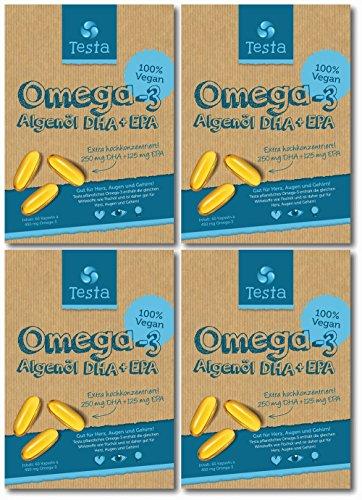 Es ist Omega-3, aber besser - viel gesünder als Fischöl - pflanzenbasiertes DHA und EPA aus Algenöl - Reines und Veganes Omega-3 - Testa Omega 3-240 Kapseln (4 Packungen)