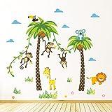 Rainbow Fox Niños árbol Pegatinas de pared playa Coco Árboles mono pegatinas de pared Vinilo para vivero decoración