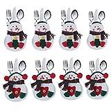 Xiton 8pcs Decoracion Navidad Papa Noel Adornos Cocina Traje Cubiertos Tenedores bolsillos (Árbol * 4 + corazón * 4)