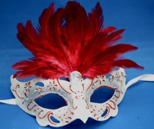 Rouge et Argent Plume Vénitien Mascarade Masque Parti Carnaval
