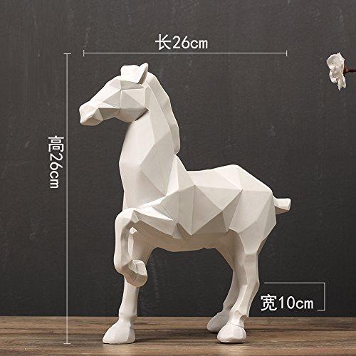 Yeeart Statuen Ornamente Nordic Geometric Origami Abstract White Horse Ornamente Home Tierskulptur Modell Bauble Ornament Geometrie Pferd