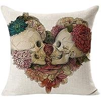 TaoNaisi 45 * 45cm Cráneo del Tema de Halloween Pareja y patrón de Flores Almohada Funda