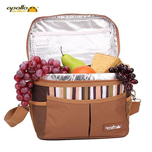 Appllo Walker Tragbar Camping KühlkorbThermotasche Campingtasche Isolierbox Picknicktasche (25.5 x 17 x 20 cm, Braun) für Outdoor-Aktivitäten Walker-fach