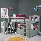 Noa and Nani Oliver Sleep Station - Letto a soppalco con scrivania, cassetti e Ripiani, Colore: Grigio