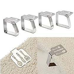 LussoLiv 4pcs Tableware Shape Stainless Steel Tablecloth Clips Table Cover Holder For Party Picnic