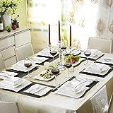 Malacasa Série Flora 60pcs Service de Table Porcelaine 12 Assiettes Plates 12 Tasses 12 Soucoupes 12 Assiettes à Dessert 12 Assiettes à Soupe Creuses Art de Table Service à Café Couverts Vaisselles pour 12 Personnes